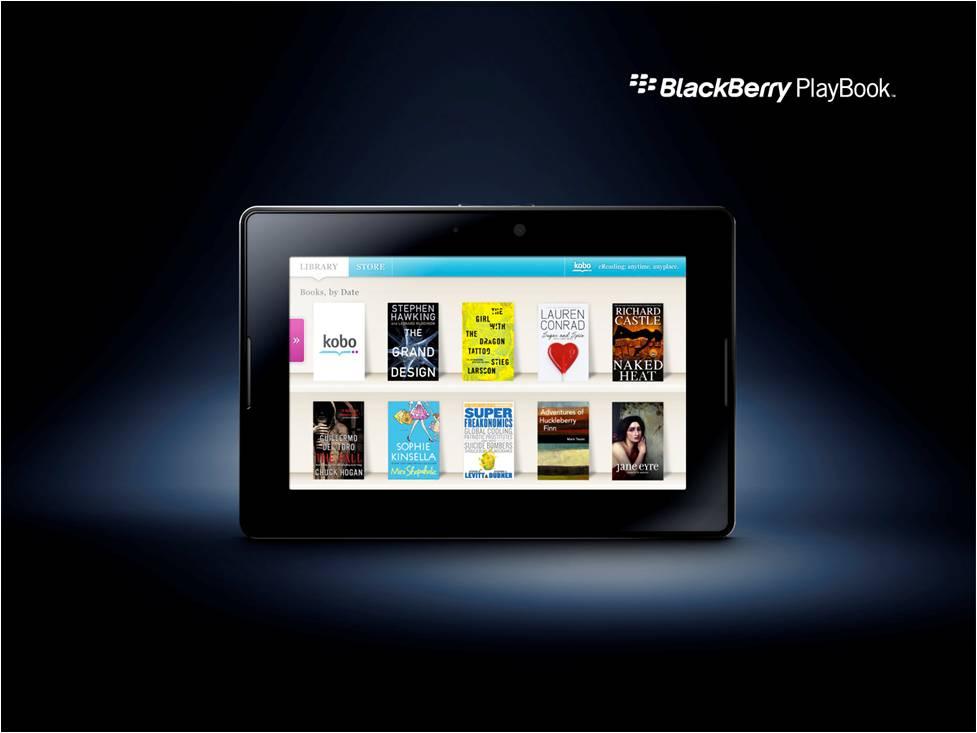BlackBerry PlayBook με εφαρμογές Kobo και Kindle για τα ebooks