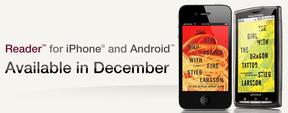 Το Δεκέμβρη εφαρμογές Sony Reader για iPhone και Android