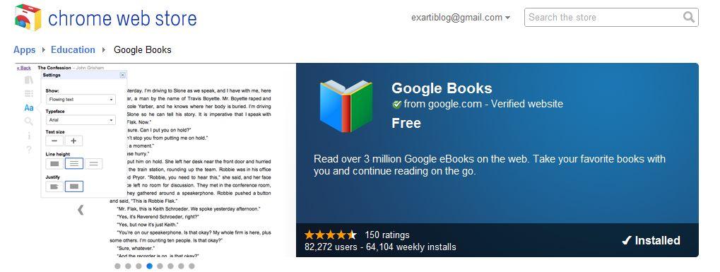 Google Books app για τον Chrome, αλλά δεν προσθέτει τίποτα