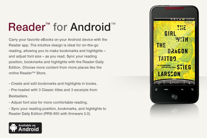 Στο Android Market η εφαρμογή Sony Reader