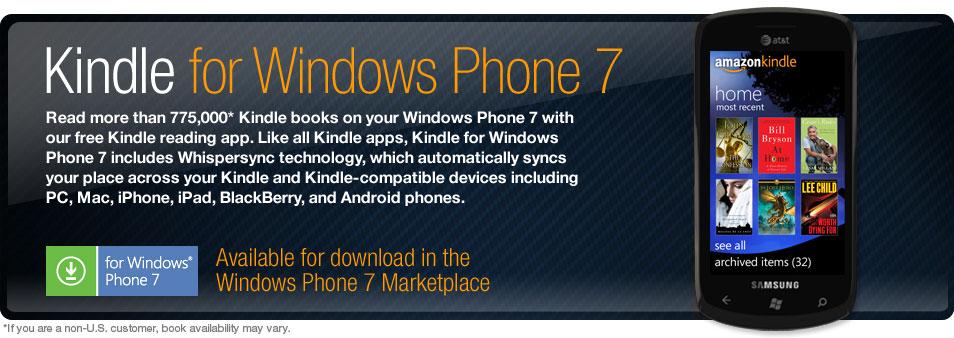 Έτοιμη η εφαρμογή Kindle for Windows Phone 7 (video)