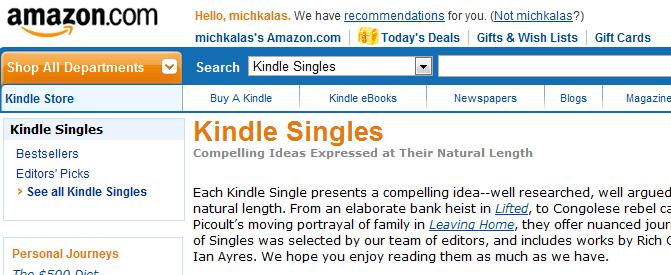 Ξεκίνησαν τα Kindle Singles, δοκίμια και νουβέλες από το Amazon – επιλογές