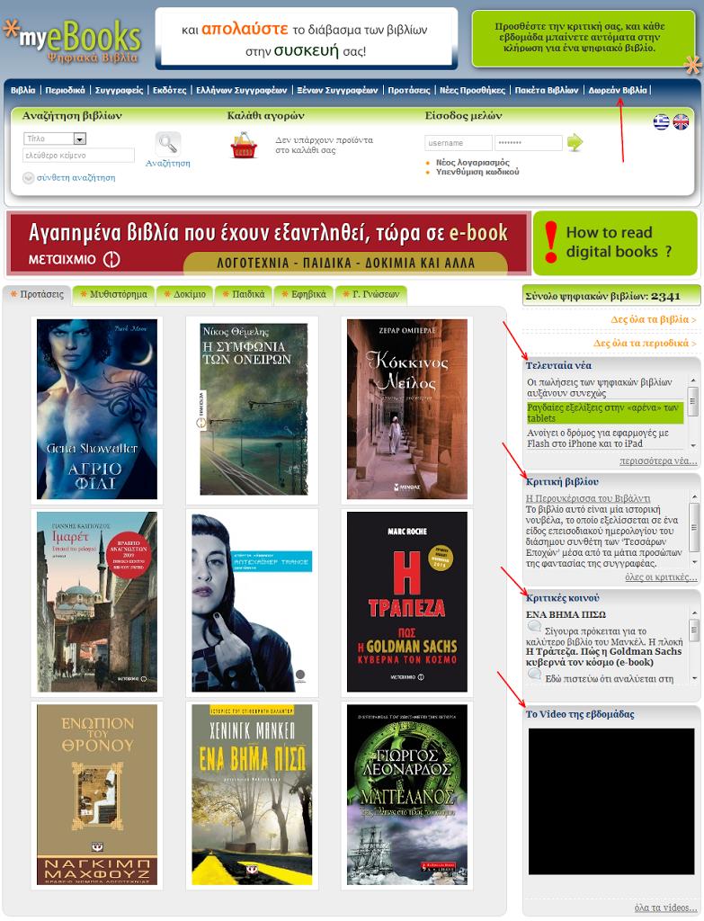 Ανανεωμένο το site του myeBooks.gr με δυνατότητες σχολιασμού και δωρεάν e-books