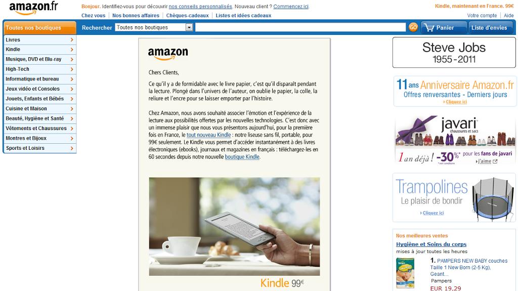 Kindle, ebooks και πλατφόρμα αυτοέκδοσης από το Amazon και σε Γαλλία, Βέλγιο