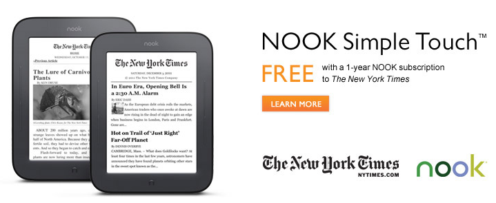 Δωρεάν το Nook Touch με συνδρομή στους New York Times