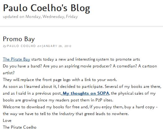 """Πάουλο Κοέλιο: """"Κατεβάστε τα βιβλία μου δωρεάν"""""""