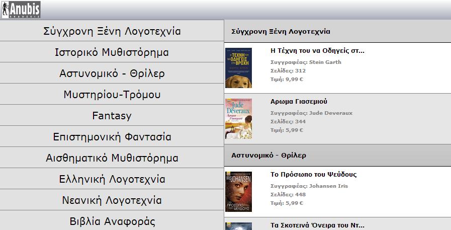 Mini site από τις Εκδ. Anubis για τα ebooks τους στο iBookstore