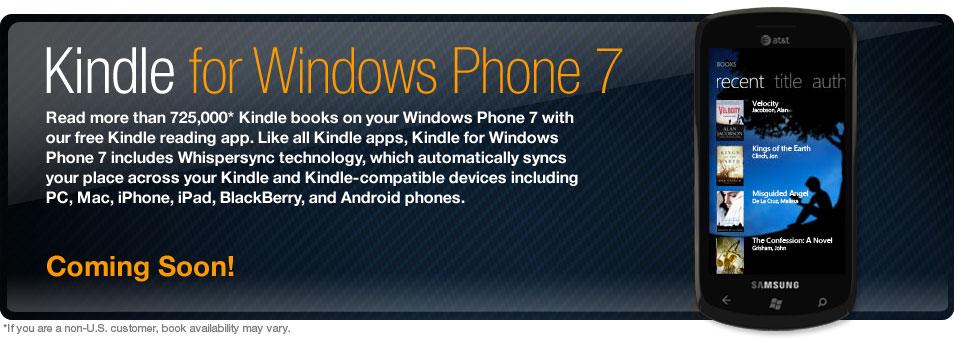 Το Amazon ετοιμάζει εφαρμογή Kindle για ebooks στα Windows Phone 7